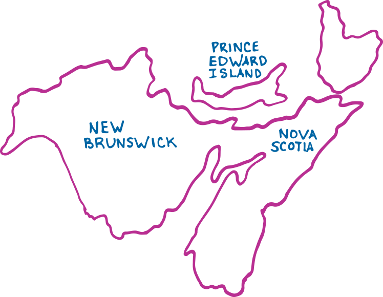 A cartoon map of the Maritimes including Nova Scotia, New Brunswick, and Prince Edward Island